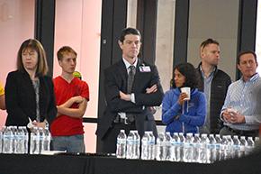 Drs. Carol Gregorio (far left), Kevin Moynahan (center), Anita Koshy (to right of him) and Dean Billheimer (far right) at Shark Tank contest on COM-T Research Day 2019