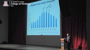 Dr. Kron discusses the rise and later fall in deaths from cardiovascular disease due development of interventional techniques such as CABG, angioplasty and coronary stents
