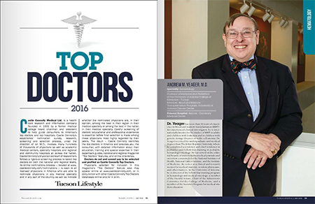 Dr. Andrew Yeager in Tucson Lifestyle magazine's Top Doctors 2016 issue