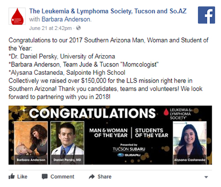 Facebook post on Leukemia & Lymphoma Society of Southern Arizona's 'People of the Year'