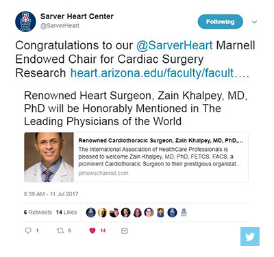 Twtter messaging congratulating Dr. Khalpey about IAHCP honor