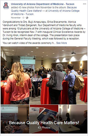DOM Facebook post for photo album of Clinical Excellence Awards ceremony