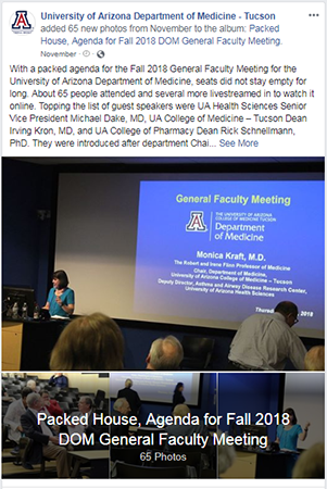 Facebook post about Fall 2018 DOM General Faculty Meeting photo album
