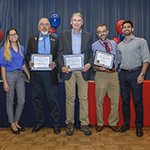 Third and fourth from left, John Bloom, MD, and J.P. Ferreira, MD, winners of a 2018 Dean's List for Excellence in Teaching award