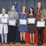 Cardiologist Elizabeth Juneman, MD (center), winner of 2018 Dean's List for Excellence in Teaching – Year 1 award