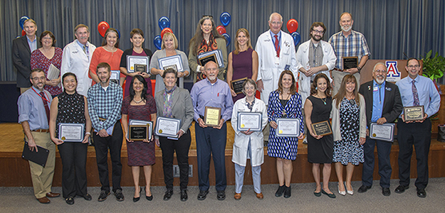 Group shot of winners from the 2018 Annual Faculty Teaching Awards at the UA College of Medicine – Tucson
