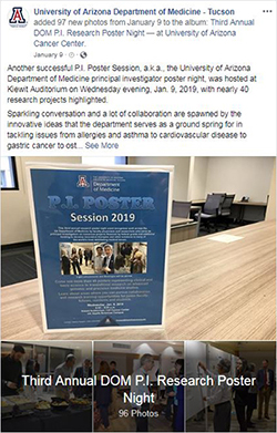 Image of photo album post for 3rd Annual DOM P.I. Poster Session, aka research night, on Jan. 9