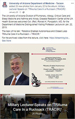 Image of photo album post for Distinguished Visiting Lecture by UPMC's Dr. Ron Poropatich on Jan. 22
