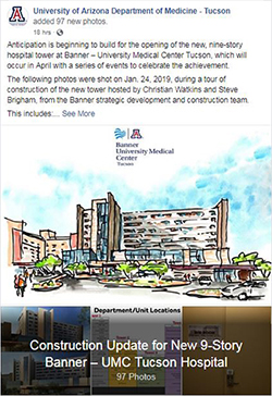Image of photo album post for new hospital tower tour at Banner – University Medical Center Tucson on Jan. 24