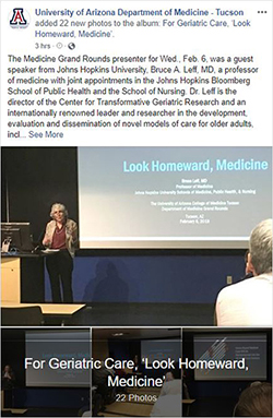 Image of photo album post for Johns Hopkins Dr. Bruce Leff delivers DOM Grand Rounds on Feb. 6