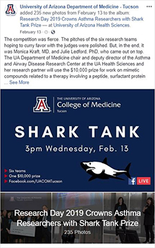 Image of Facebook webpost on photo album from Shark Tank contest at COM-T Research Day 2019