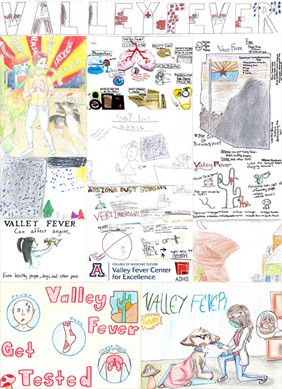 Collage image for story on 2018 Valley Fever Awareness Poster Contest winners announced by Arizona Department of Health Services