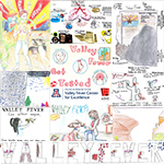 Collage of artwork submitted for Youth Valley Fever Poster contest sponsored by Arizona Department of Health Services