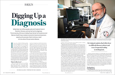 First two pages of Valley fever article with Dr. John Galgiani in March 2019 edition of Tucson Lifestyle
