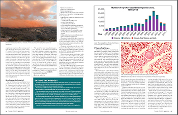 Second two pages of Valley fever article with Dr. John Galgiani in March 2019 edition of Tucson Lifestyle