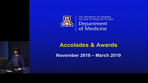 Dr. Monica Kraft presents on Accolades & Awards for department from November 2018 to March 2019