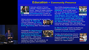 More educational mission tools include articles in local and regional publications, hosting conferences for community physicians and the public, and a high school health career fair