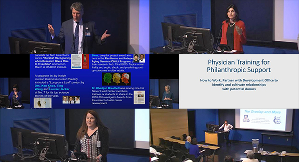 Collage of images from DOM 2019 Spring General Faculty Meeting