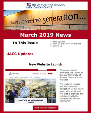 Image from new website story in University of Arizona Cancer Center Newsletter