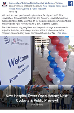 Facebook post for Banner – UMC Tucson new hospital tower open house photo galleries - Morning Session