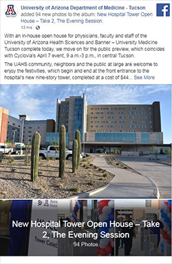 Facebook post for Banner – UMC Tucson new hospital tower open house photo galleries - Evening Session