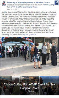 Image of Facebook post for photo album on VIP ribbon-cutting event at new Banner Tucson hospital tower