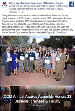 Image of Facebook post of photo album for 2019 DOM Annual Awards Assembly