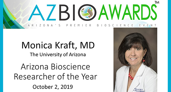 Announcement banner of Dr. Monica Kraft as the 2019 Arizona Bioscience Researcher of the Year