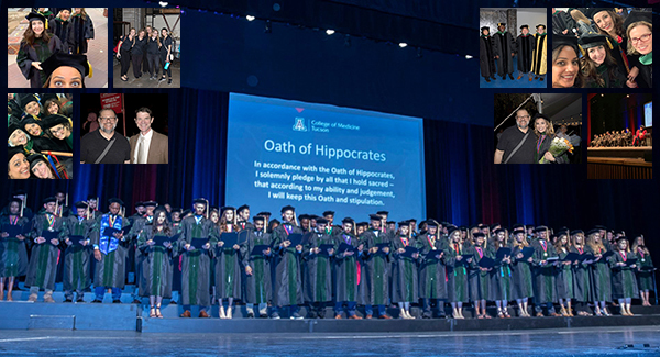 Photo collage with Class of 2019 UA medical school graduates taking the Hippocratic oath, led by Dr. Irving Kron