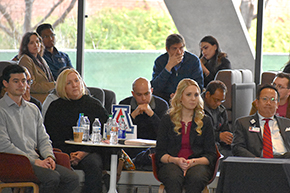 Drs. Stefano Guerra and Francesca Polverino (back center) at Shark Tank contest on COM-T Research Day 2019
