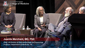 Dr. Juanita Merchant speaks with Drs. Andrew Weil and Irv Kron at the UA Great Debate on April 23