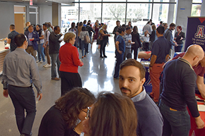 Reception after Shark Tank contest on COM-T Research Day 2019