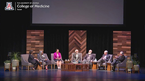 The full panel applauds the audience for attending the UA Great Debate