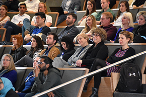 Drs. Craig Weinkauf (2nd row, 3rd from left), Julie Bauman and Esther Sternberg (3rd and 2nd from right) at Shark Tank contest on COM-T Research Day 2019