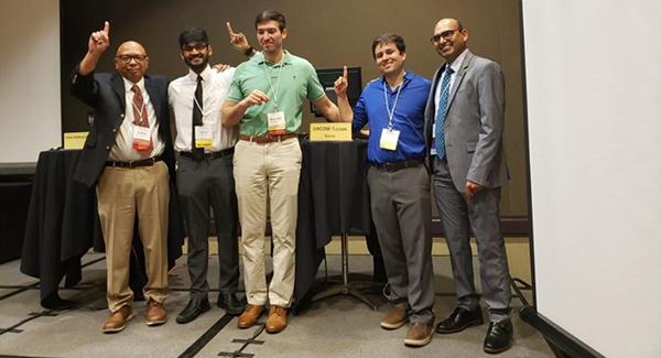 Celebrating their win (left to right): Internal Medicine Residency South Campus Director Dr. Gene Trowers, Drs. Sooraj Kumar, Alex Alsadi and Juan Siordia, and Associate Program Director Dr. Bujji Ainapurapu