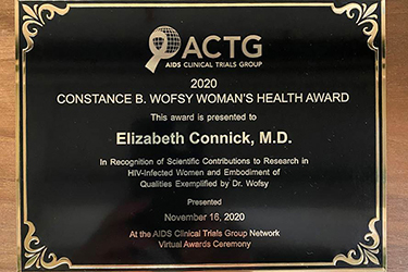AIDS Clinical Trials Group Constance Wofsy Women's Health Award presented to Dr. Connick