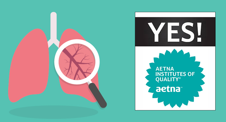 Image of lungs overlayed with 'YES!' with Aetna Institutes of Quality Seal