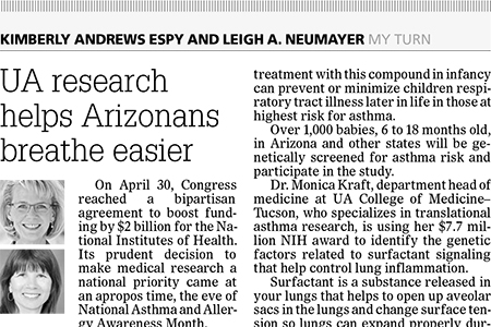 Slice of Arizona Republic op-ed from 5-31-2017 on UA asthma research