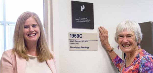 Dr. Julie Bauman and her mother, Dr. Kay Bauman, next to the relocated plaque in her father's honor