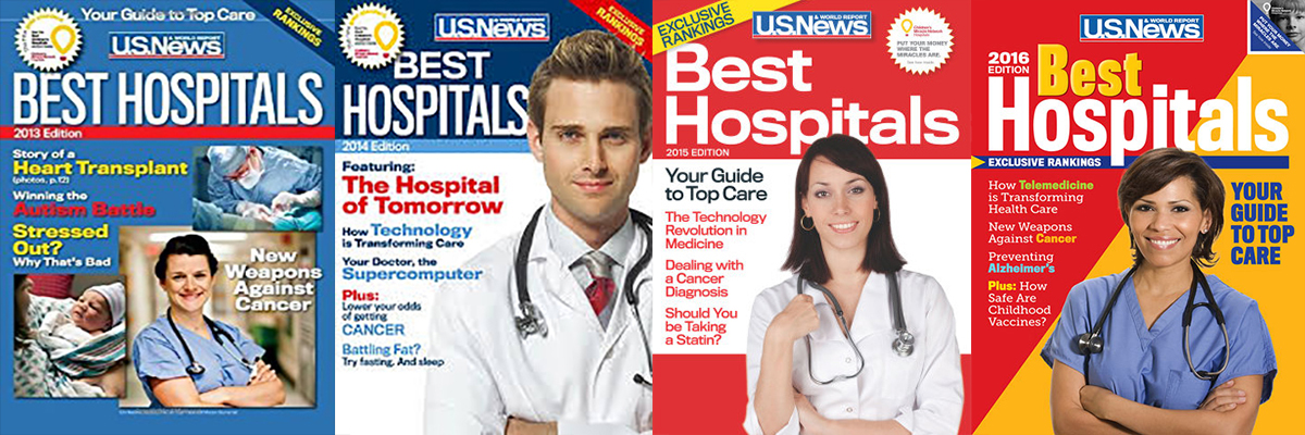 Past 4 covers of U.S. News' 'Best Hospitals' rankings issue