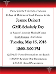 Flyer for South Campus GME Scholarly Days event May 15, 2018