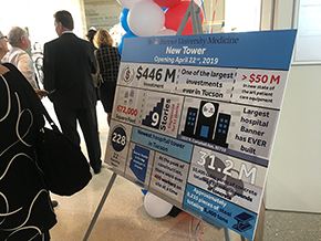 A poster shows the economic impact of the new tower construction