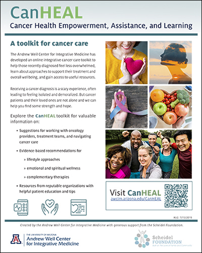 Flyer for CanHEAL program at UA Andrew Weil Center for Integrative Medicine
