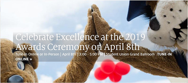 Wilma and Wilbur Wildcat clap hands over message of UA Awards for Excellence ceremony April 8, 2019