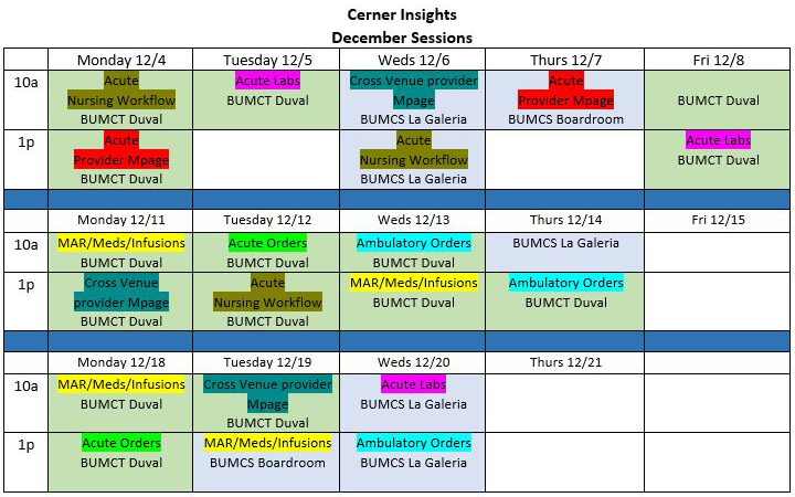 BUMCTS Cerner Insight Sessions in December 2017