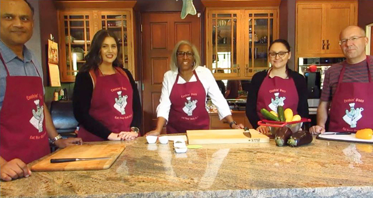 Cast of the first Cookin' Docs video with GI physicians Drs. Bhaskar Bannerjee and Juanita Merchant (our chef in center), admin Katherine Sepulveda, student Karen Rico and Todd Boltz, DOM administrator