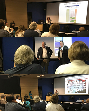 Collage of images from Fall 2018 DOM General Faculty Meeting including Drs. Ojo, Kron, Dake and Sussman