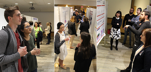 A triple-photo collage from DOM P.I. Research Poster Night, including Drs. Monica Kraft, Diego Celdran Bonafonte and Julie Ledford in the right frame