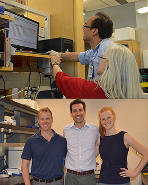 Top image: Drs. Keng Pineda and Jil Tardiff look at research data; Bottom: Dr. Jordan Lancaster with med students Giuliana Repeti and Pierce Bradley