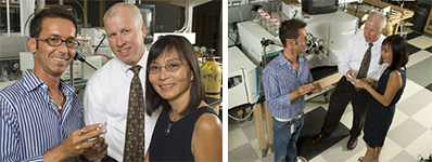 Dr. Stump (center) with George Tsaprailis and Serrine Lau in 2007 UA News story about BIO5 and Biodesign Institutes seeking early detection of Type 2 diabetes.
